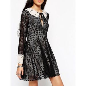 Free People Black Lace Long Sleeve Dress